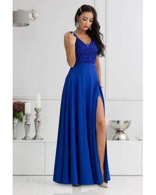 Długa chabrowa suknia...