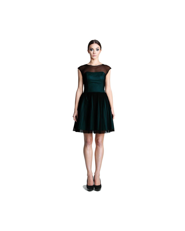 Rozkloszowana czarno-zielona 42 tiulowa sukienka CAMILL 251