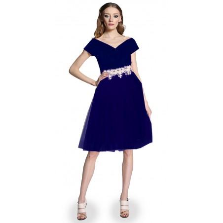 Śliczna tiulowa granatowa  sukienka  36 CAMILL 298