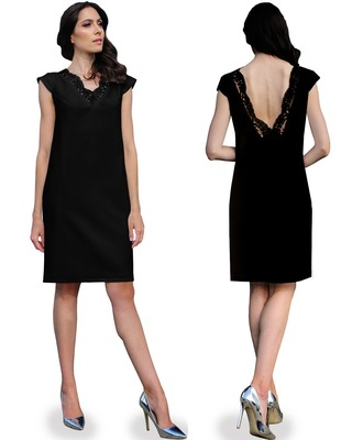 Camill 366 Elegancka sukienka z odkrytymi plecami wykończonymi koronką na wesele