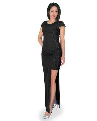 Camill 321 Asymetryczna ,elegancka,długa wieczorowa sukienka  z koronką