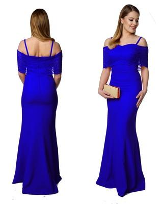Długa elegancka sukienka z subtelną koronką na wesele Camill 358