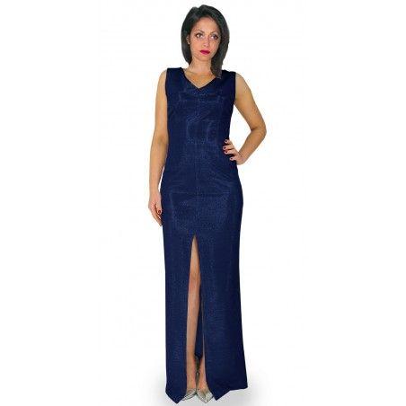Camill 325 Długa ,wieczorowa ołówkowa suknia na karnawał,wesele granatowa r.48