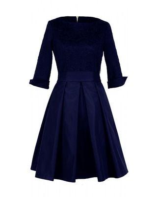 Rozkloszowana sukienka z rękawem 3/4 na każdą okazję CAMILL 186