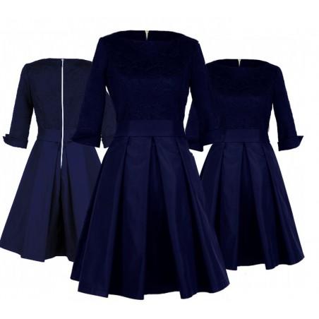 Rozkloszowana sukienka z rękawem 3/4 na każdą okazję CAMILL 186 1