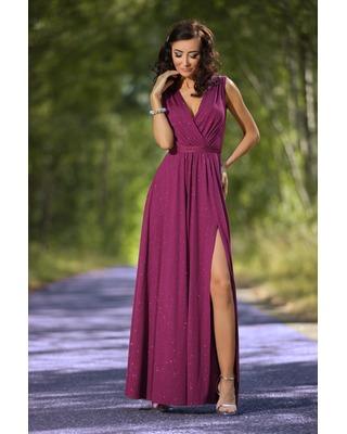Wrzosowa długa sukienka z rozcięciem na studniówkę,sylwestra Camill 022a
