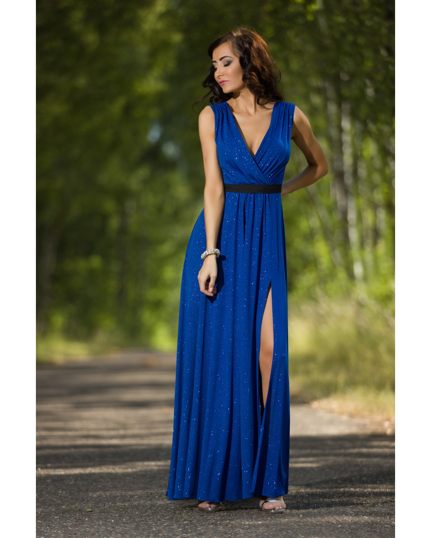 Szafirowa brokatowa długa sukienka z  rozcięciem na sylwestra,studniówkę Camill 022a
