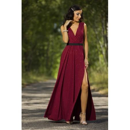 Bordowa długa sukienka z rozcięciem na studniówkę,sylwestra Camill 022a