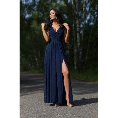 Granatowa długa sukienka z rozcięciem na studniówkę,sylwestra Camill 022a