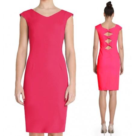 Różowa wąska sukienka z kokardkami na plecach