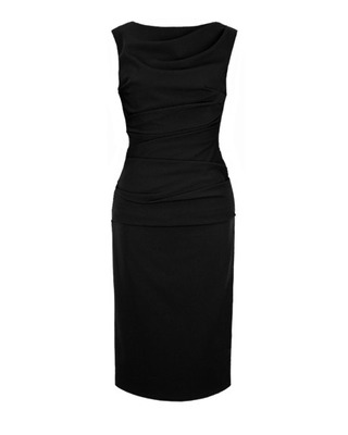 Elegancka czarna ołówkowa sukienka z marszczeniami w talii CAMILL147