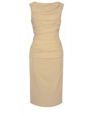 Elegancka beżowa ołówkowa sukienka z marszczeniami w talii CAMILL147