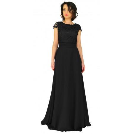 Camill 324 Piękna długa koronkowa sukienka z subtelnie odsłoniętymi plecami