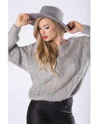 ażurowy sweter z długimi,...