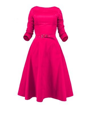 Rozkloszowana sukienka z rękawem CAMILL 164 9