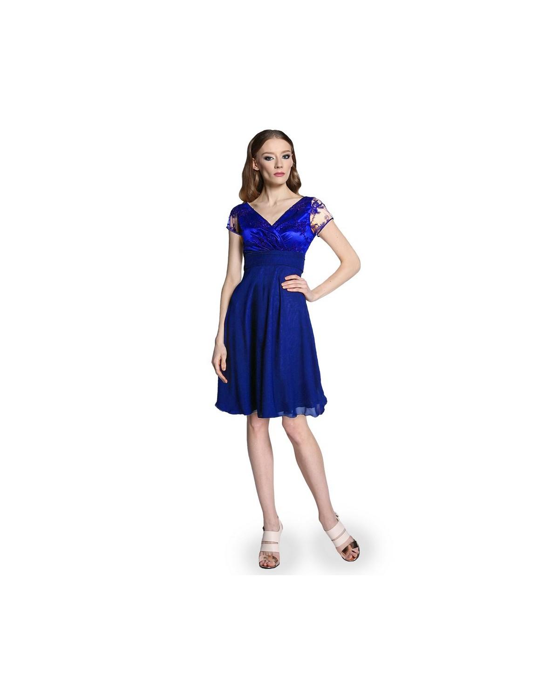 Koronkowa sukienka odcięta pod biustem szafirowa Camill 300