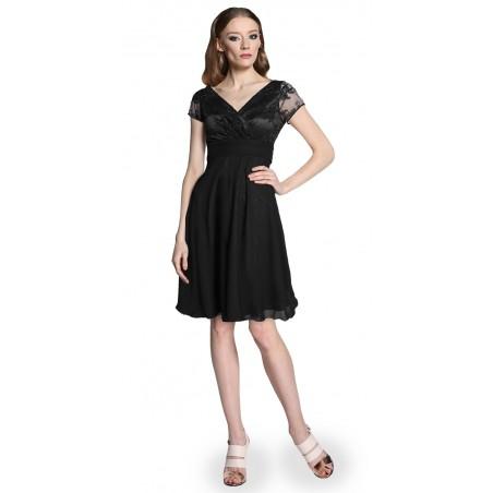 Koronkowa sukienka odcięta pod biustem fuksjowa Camill 300