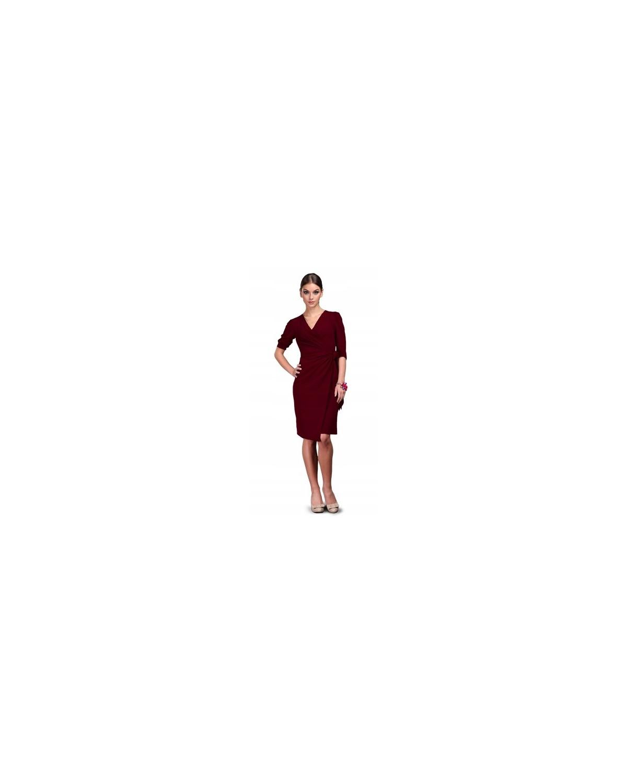 Kopertowa sukienka z  dekoltem w serek na każdą okazję bordowa CAMILL 109