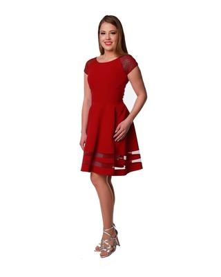 Camill 315 wizytowa elegancka na wesele rozkloszowana sukienka z rękawkiem