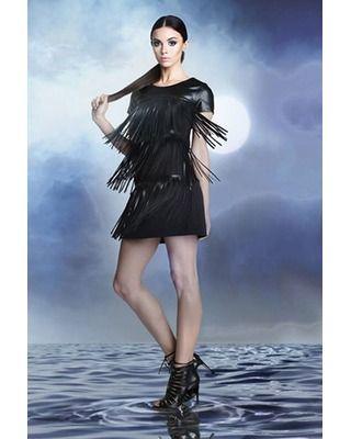Skórzana trapezowa sukienka z frędzlami  CAMILL 243