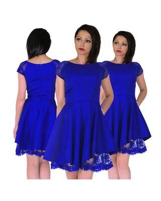 Rozkloszowana  sukienka z koronką szafirowa CAMILL 314