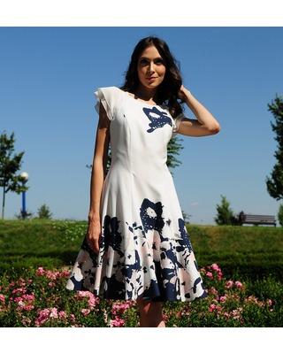 Camill 365 Rozkloszowana sukienka z kwiatowym wzorem