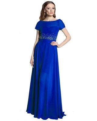 Camill E04 Długa,Elegancka ,szyfonowa sukienka z kamieniami na wesele ,bal