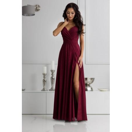 Długa zielona suknia wieczorowa na ramiączkach z rozcięciem Camill 022