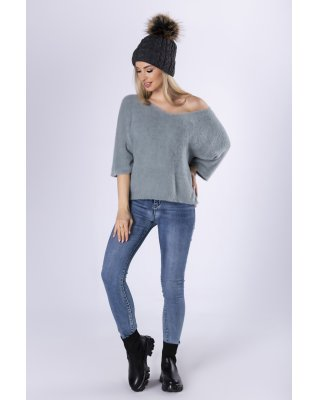 futerkowy sweter z krótkim...