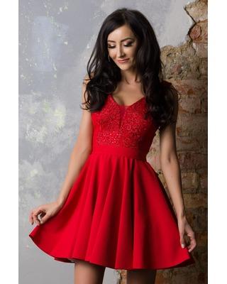 Klasyczna sukienka w kontrafałdy z rękawkiem CAMILL 182 3