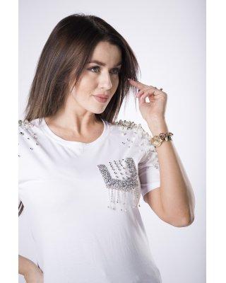 t-shirt z perełkami biały