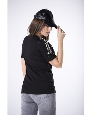 t-shirt z perełkami czarny