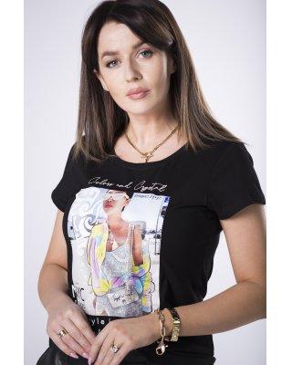 t-shirt z nadrukiem czarny