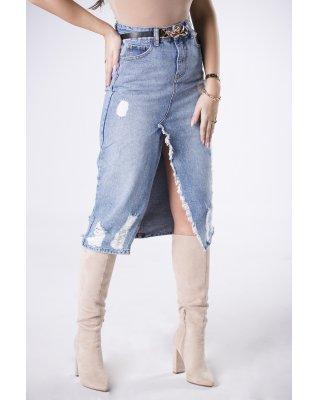 jeansowa spódnica midi z...