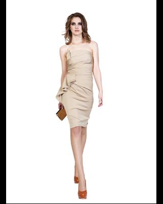 Ołówkowa beżowa sukienka...