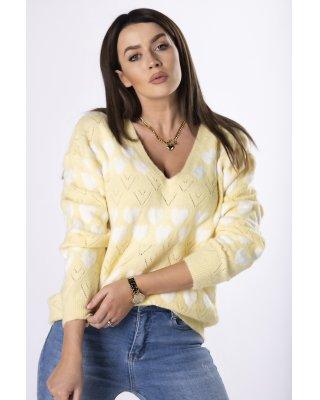 sweter z printem żółty