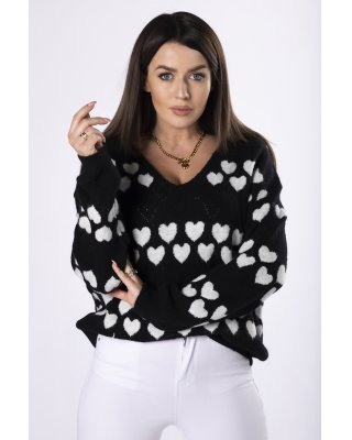 sweter z printem czarny