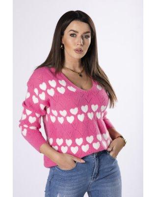 sweter z printem różowy