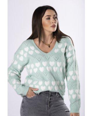 sweter z printem zielony