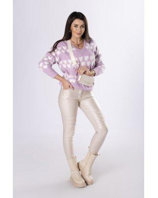 sweter z printem fioletowy