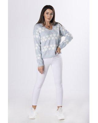 sweter z printem niebieski