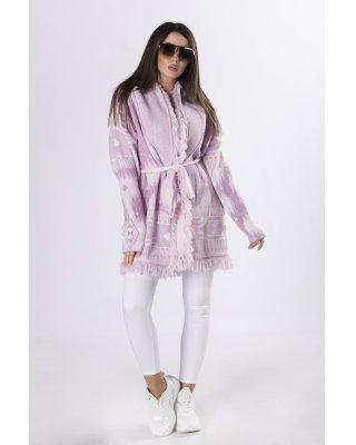 sweter z frędzlami  fioletowy