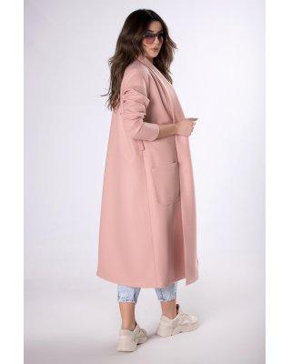długi płaszcz z paskiem...