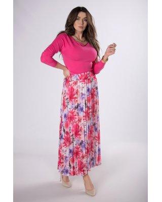 plisowana spódnica maxi różowy