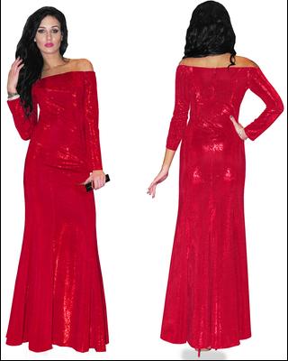 Błyszcząca czerwona suknia...