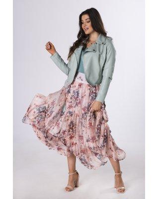 szyfonowa spódnica w kwiaty...