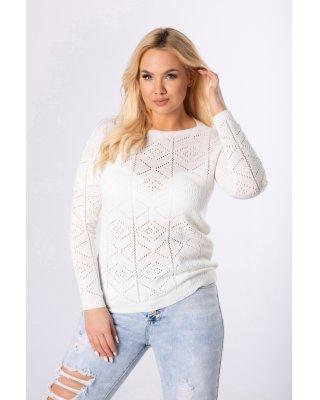 ażurowy sweter kremowy