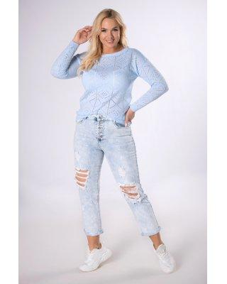 ażurowy sweter niebieski