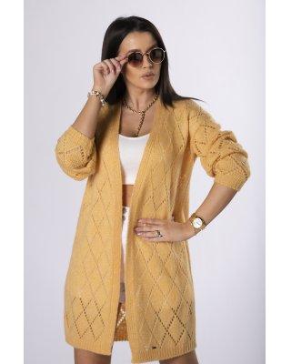 ażurowy sweter  żółty