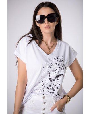 t-shirt z kontrastowym...